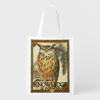 O conhecimento é poder, coruja do vintage, a bolsa sacolas reusáveis