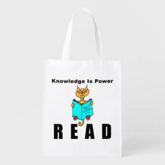 O conhecimento legal da leitura do gato é poder sacola ecológica