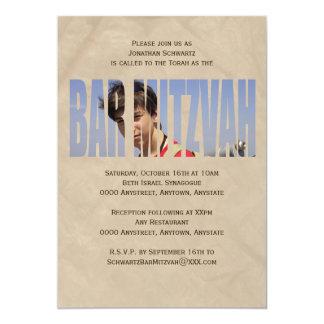 O convite da foto de Mitzvah do bar em Tan