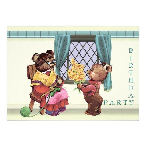 O convite de aniversário de urso de ursinho