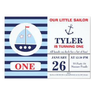 O convite de aniversário náutico do menino