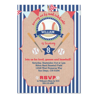 O convite do aniversário do menino do basebol