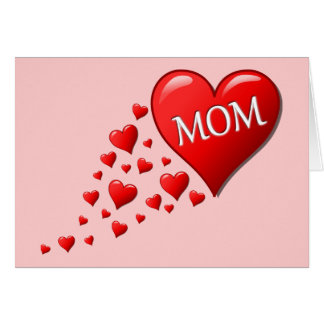 O coração arrasta a mamã cartão