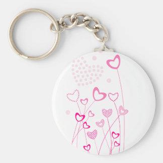 O coração cor-de-rosa e branco deu forma ao jardim chaveiro