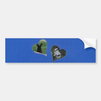 O coração do azul dois adiciona o quadro da foto adesivo para carro