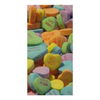 O coração dos doces seja meu eu te amo modelo da cartão com foto