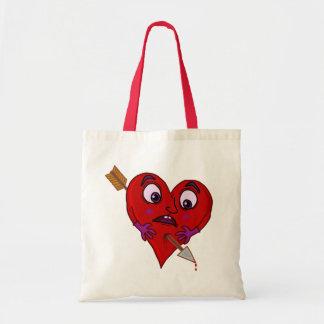 O coração dos namorados engraçados com seta bolsa tote