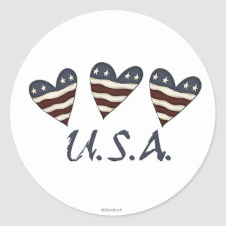O coração embandeira etiquetas dos EUA Adesivos Em Formato Redondos
