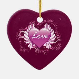O coração roxo voa o dia dos namorados do amor dos ornamento de cerâmica coração