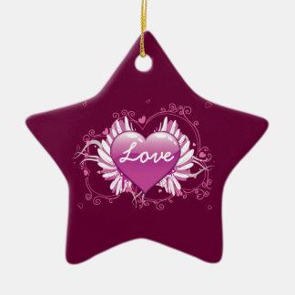O coração roxo voa o dia dos namorados do amor dos ornamento de cerâmica estrela