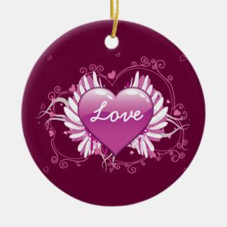 O coração roxo voa o dia dos namorados do amor dos ornamento de cerâmica redondo