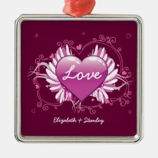 O coração roxo voa o dia dos namorados do amor dos ornamento quadrado cor prata