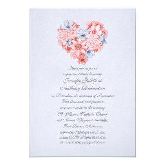 o coral floresce a festa de noivado do vintage do convite 12.7 x 17.78cm