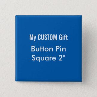 """O costume imprimiu 2"""" AZUL quadrado do Pin do Bóton Quadrado 5.08cm"""