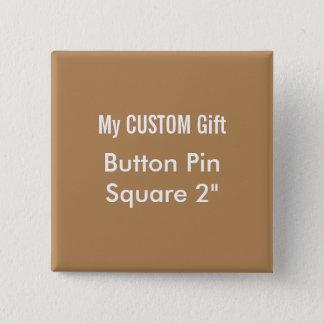 """O costume imprimiu 2"""" MARROM quadrado do Pin do Bóton Quadrado 5.08cm"""
