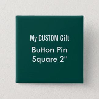"""O costume imprimiu 2"""" VERDE quadrado do Pin do Bóton Quadrado 5.08cm"""