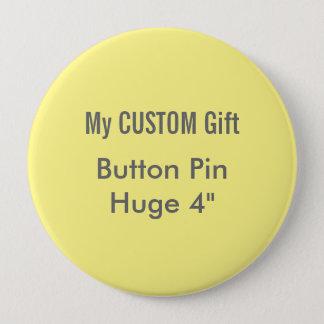 """O costume imprimiu 4"""" AMARELO enorme do Pin do Bóton Redondo 10.16cm"""