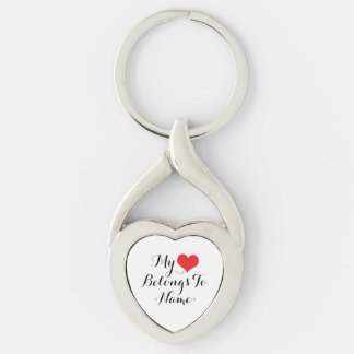 O costume meu coração pertence a <Name> Chaveiro Coração Torcido Cor Prata