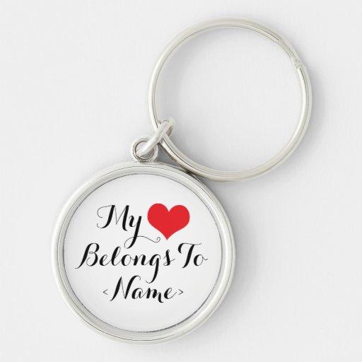 O costume meu coração pertence a <Name> Chaveiros