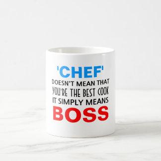 O cozinheiro chefe significa o chefe caneca de café