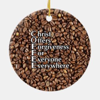 O cristo cerâmico dos feijões de CAFÉ do ornamento