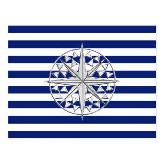 O cromo gosta do compasso em listras náuticas cartão postal