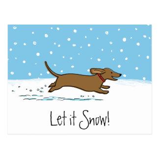O Dachshund deixou-o nevar - cão feliz do Wiener Cartão Postal