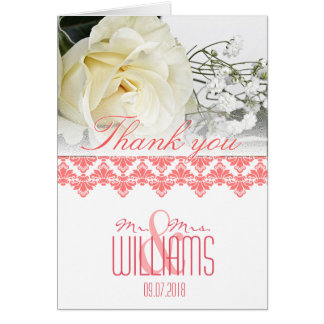O damasco dos cartões de agradecimentos do