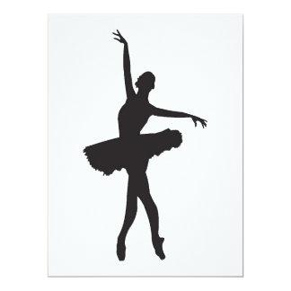 """O DANÇARINO de BALÉ (silhueta da bailarina) Convite 16.51"""" X 22.22cm"""