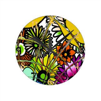 O design floral surpreendente colorido o mais relógio redondo