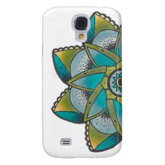 O design geométrico verde S4 Samsung da flor Capas Personalizadas Samsung Galaxy S4