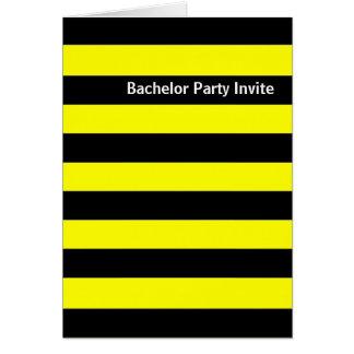 O despedida de solteiro (amarelo) preto das cartão comemorativo