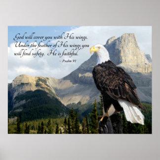 O deus cobri-lo-á com seu salmo 91 das asas pôster