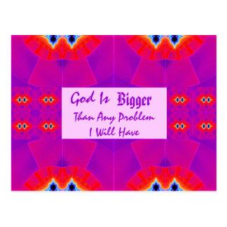 O deus é mais grande do que todo o problema que eu cartão postal