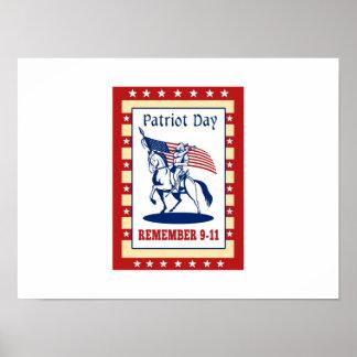 O dia americano do patriota recorda o cartão 911 posteres