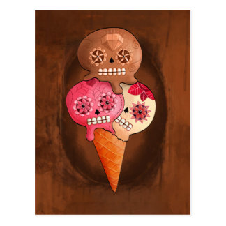 O dia do sorvete inoperante dos crânios do açúcar cartão postal