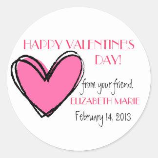 O dia dos Coração-Namorados cor-de-rosa Adesivo