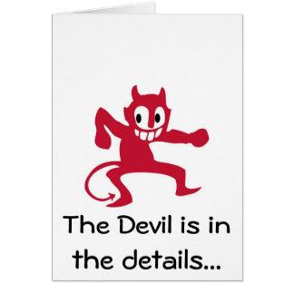O diabo está nos detalhes cartão comemorativo
