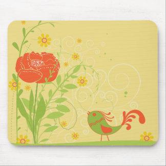 O ~ do pássaro floresce a paisagem da natureza da  mouse pads