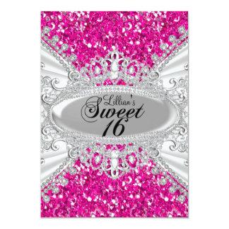 O doce cor-de-rosa 16 da tiara do brilho & do convites personalizado