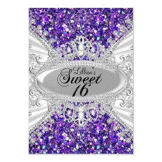 O doce roxo 16 da tiara do diamante do brilho convite 12.7 x 17.78cm