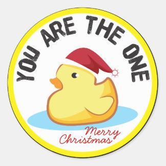 O duckie de borracha você é o um selo do presente adesivo