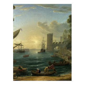 O embarque da rainha de Sheba por Claude Cartão Postal
