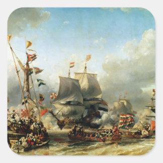 O embarque de Ruyter e de William de Witt Adesivos Quadrados