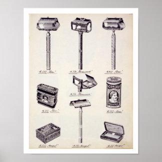 O equipamento de rapagem dos homens, de um catálog poster