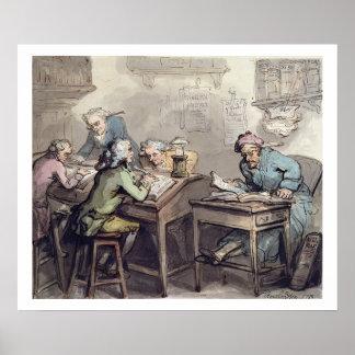 O escritório de um comerciante, 1789 (caneta & tin pôsteres