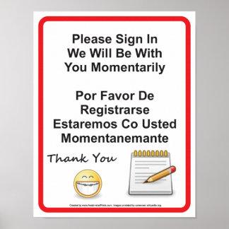O escritório dental paciente assina dentro o sinal poster