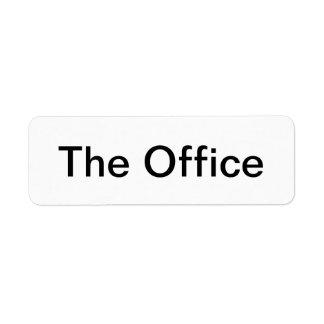 O escritório etiqueta endereço de retorno