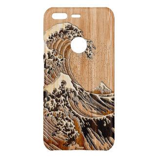 O estilo de madeira de bambu do embutimento da capa para google pixel da uncommon