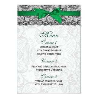 O falso atam e o menu do casamento do verde convite 12.7 x 17.78cm